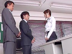 Amazing Japanese office chick gets threesomed in an office