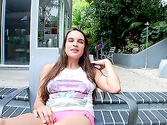 Teal Conrad the pretty teen gives a blowjob in POV video