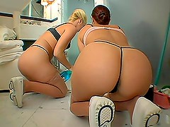 Two big-assed maids show their butts to some kinky dude