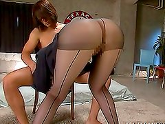 Gorgeous Japanese Babe Yui Tatsumi Fucked In Her Ripped Pantyhose