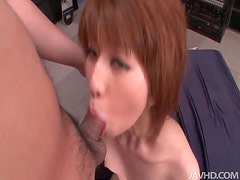 Pretty Jap babe with short hair gets her cute face fucked