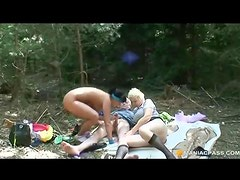 Teen taking a hike joins horny older couple
