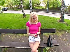 Euro Blonde Amateur Fucked from Behind in the Park in POV