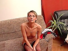 Tight-Bodied Short-Haired European MILF in Stockings Does Anal and Vaginal