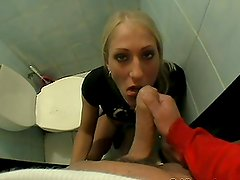 Randy Amateur Blonde Getting Fucked in Restroom after Coffee in POV