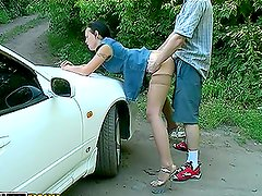 Hot Brunette BJs in the Car and Gets Drilled Outdoors