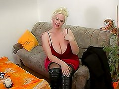 European Blonde with Big Tits Takes It Her Hungry Pussy
