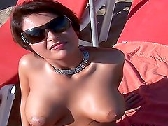Gorgeous Shila Lee with Big Natural Tits and a Red Dress Fucked in POV