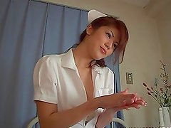 Japanese nurse milks some guy's cock dry on her hands