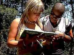 Blonde Sucks Big Black Dick Out In The Woods