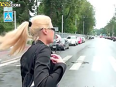 Kinky Blonde Shows Her Parts in Upskirt Shots and Gives a Blowjob