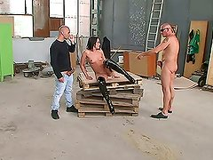 Backstage of hot threeway with anal sex