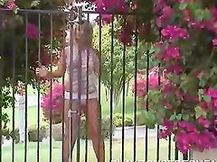 Blonde Model Takes Her Skimpy Clothes Off In Her Garden
