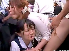 Kinky Japanese girls in school uniform get fucked in metro