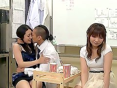 Two hot Japanese office chicks get fucked by colleagues