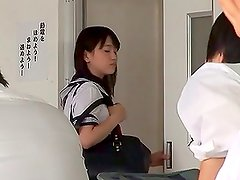 Nice Japanese girl in school uniform gets fucked in a locker room