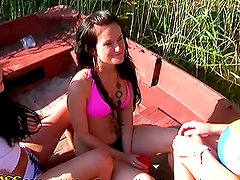 Three Hot Wild College Girls Sucking Cock on a Boat in POV