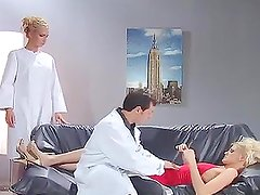 A doctor and his nurse cure their sexy blonde patient