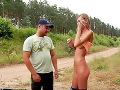 Sexy Skinny Euro Blonde Gets Naked For Cash Outdoors