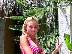 Eliza Carson takes shower and jumps int eh pool naked