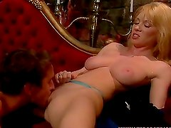 Sexy blond babe with tiny tits is having a hot sex