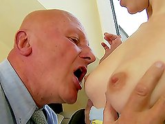 Teen Brunette Cutie Likes Grandpa Dick