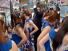 Crazy Japanese Fuck Fest in Public Bus with Hot Cheerleaders