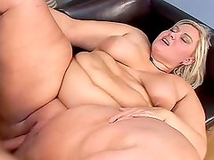 Big Fat MILF gives a blowjob and gets fucked hard