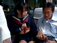 Japanese School Girl Giving a Hot Blowjob On A Train