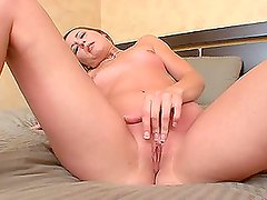 Desirable hottie Maxime Tyler plays with huge toys
