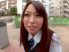 Japanese hottie Yuri Sakano enjoys sucking a cock in a car