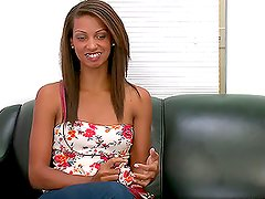 Lovely mulatto sucks a cock and gets fucked doggystyle