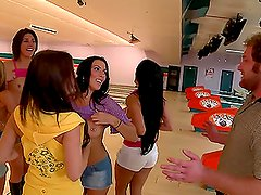 A few girls fuck a guy after playing bowling with him