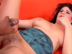 White Chick Gets Her Hairy Pussy Stuffed With Black Dick.