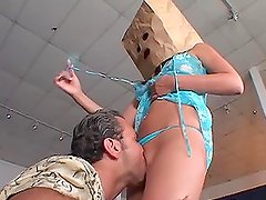 Sexy hottie Jennifer Luv rides a hard cock with a paper helmet on