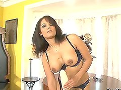 Anjanette Astoria smashes her snatch with gigantic dildos