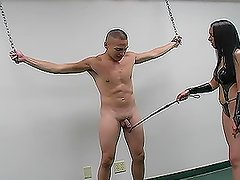 Bitchy brunette babe tortures this poor dude