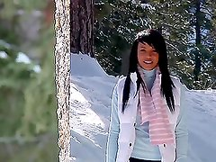 Amazing Brunette Kylie Johnson Gets Hot and Cold in a Video