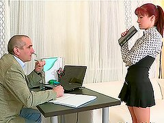 Stefany gets hardly fucked by her boss on the office table.