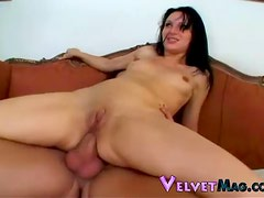 Raven haired goddess with tiny tits getting double penetrated