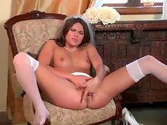 Bride fingers pussy in stockings
