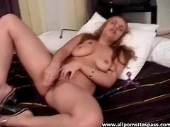 Slut with big tits and pierced pussy fucking her dildo