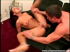 Leggy brunette milf with perky tits riding a thick shaft