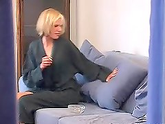 Sexy blonde Cathy is dildating herself after shower