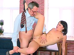 Play this video to see hot brunette babe getting seduced by old dude