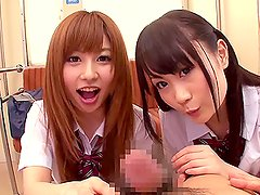 Innocent schoolgirls Cocomi Naruse and Miina Kotaki fondle a cock
