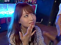 Nasty Asian girl Akiho Yoshizawa is eager to suck bartender's cock