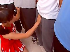 Chupada - Yuika Seno the teen Cheerleader Sucks Guys Off In A Blowjob Orgy