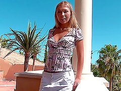 Balcony bliss with a gorgeous and delicious blondie