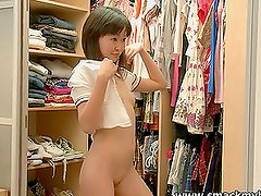 Hot Asian teen Aliona slams her pussy with a dildo
